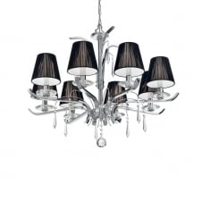 Academy Large 8 Light Chandelier Chrome with Black Bulb Shades