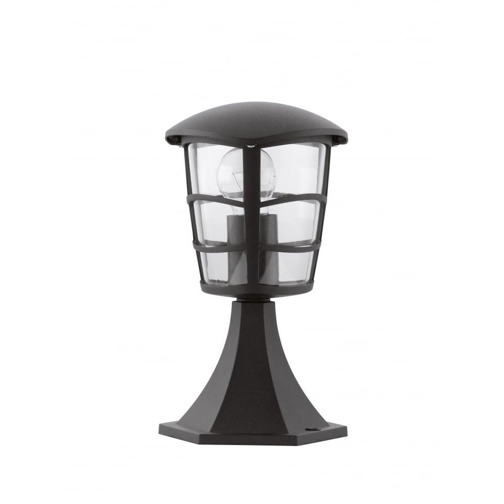 Cheltenham Cast Pedestal Lantern Light Black: Eglo SKU25142 Aloria Black Contemporary Outdoor Pedestal