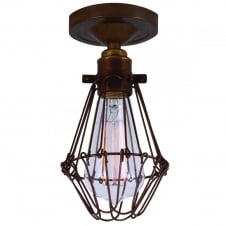 Apoch Flush Cage Light satin brass with zinc cage