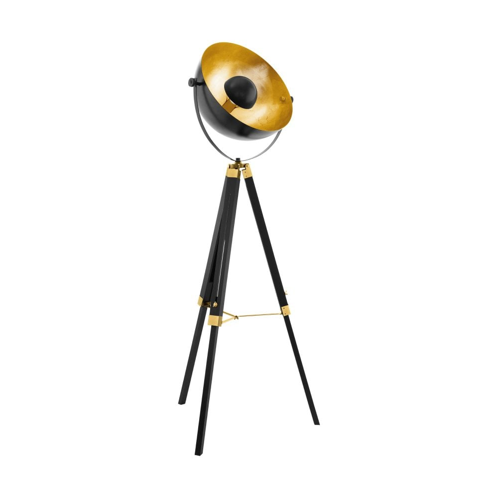 online retailer 53179 3dde9 Eglo Brass and Black Wood Tripod Floor Lamp with Gold Leaf Dome