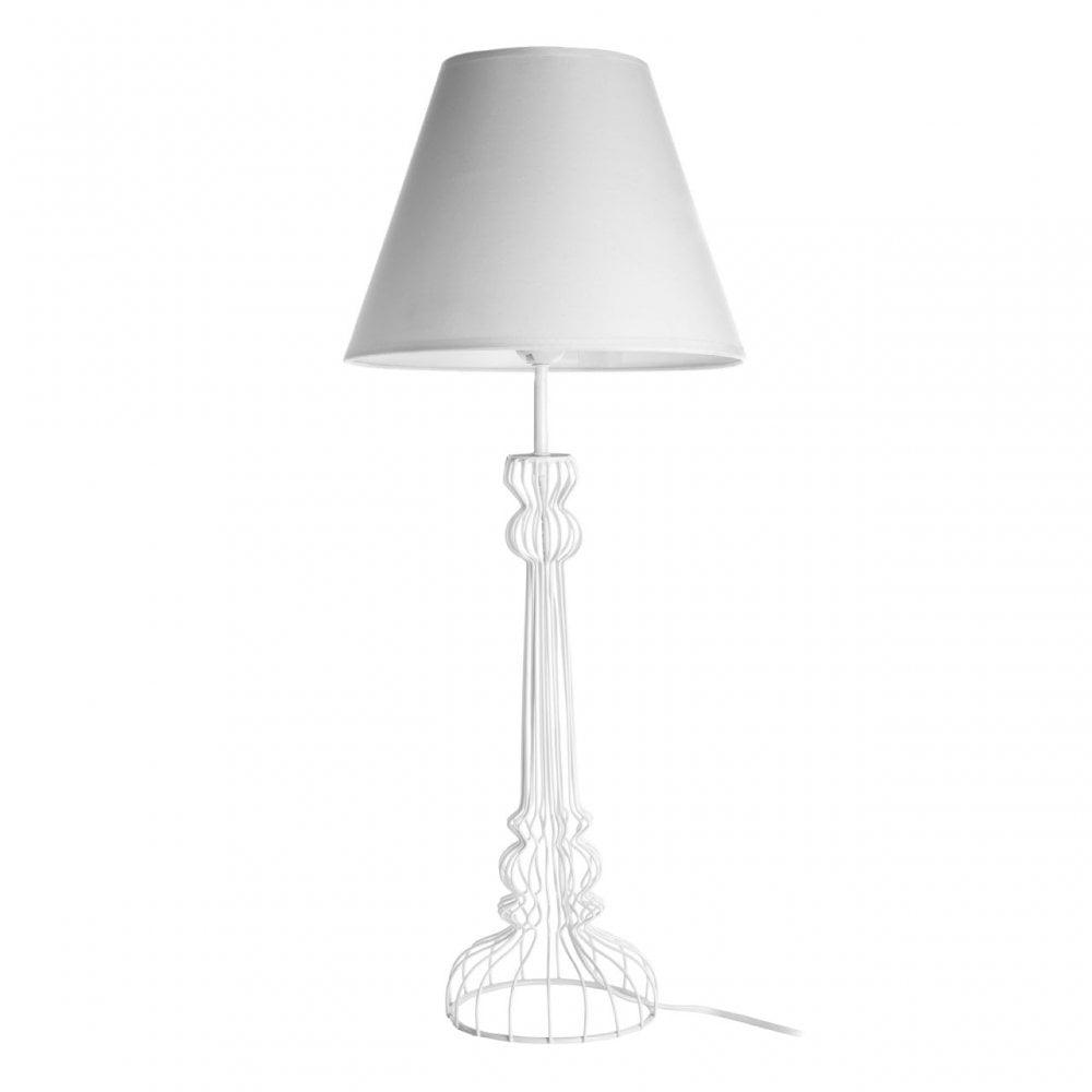 Premier Lighting Chicago White Table Lamp, Powder Coated