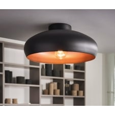 Mogano Open Bowl Black and Copper Ceiling Light