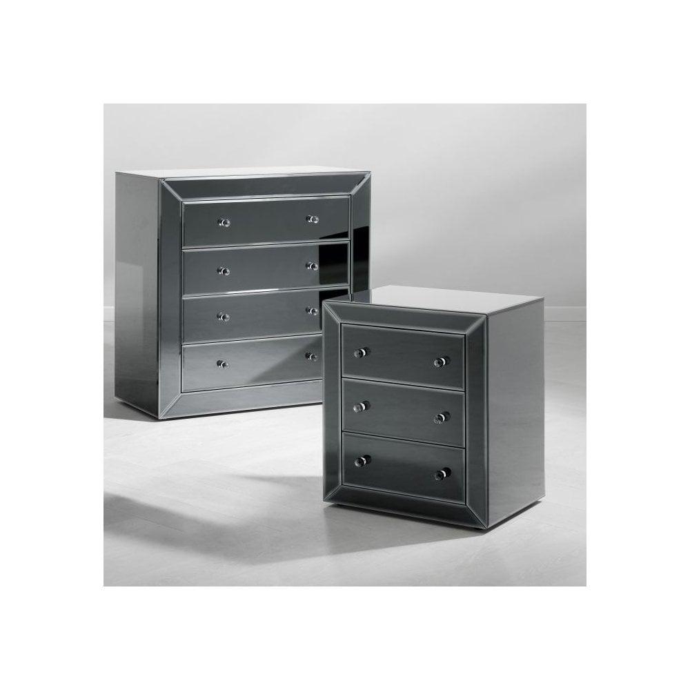 Eicholtz 107530 Bedside Table Brera Bevelled Black Mirror Glass Ideas4lighting