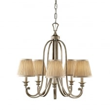 Elegant 5 Bulb Chandelier in Ivory Silver Sand with Mushroom Sconce Shades