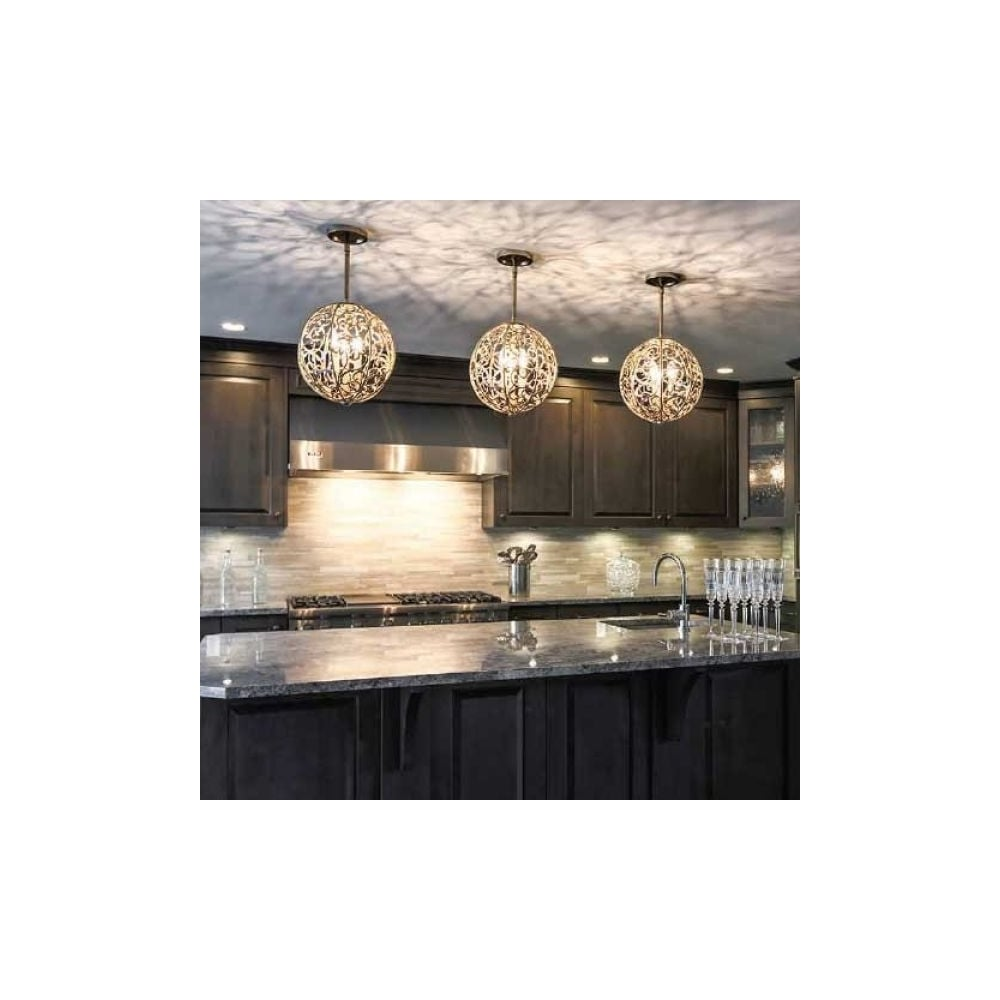 Art Deco Kitchen Island Ceiling Globe Suspension Light Finished In Silver Leaf Patina