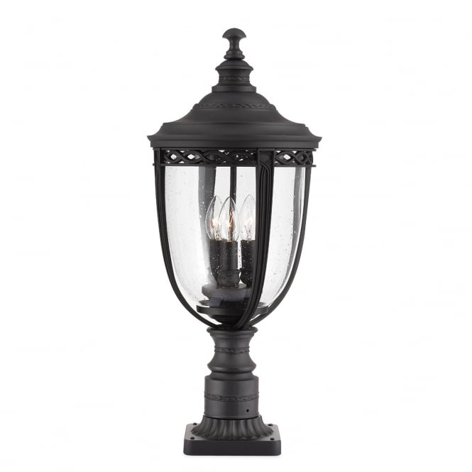 Baton Rouge Outdoor Pedestal Lantern By Feiss: English Bridle 3lt Large Pedestal Black