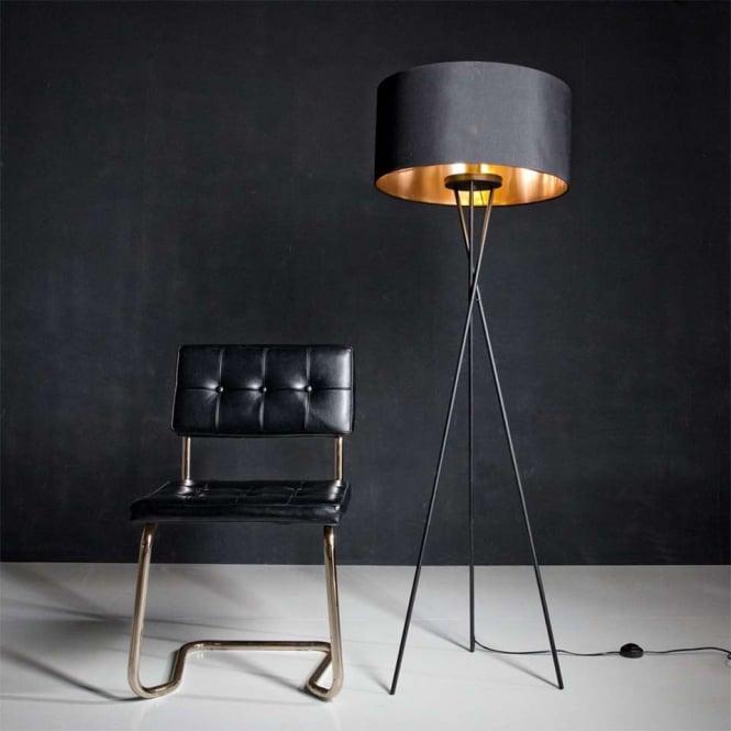 Modern Tripod Table Lamp –Nickel & Grey