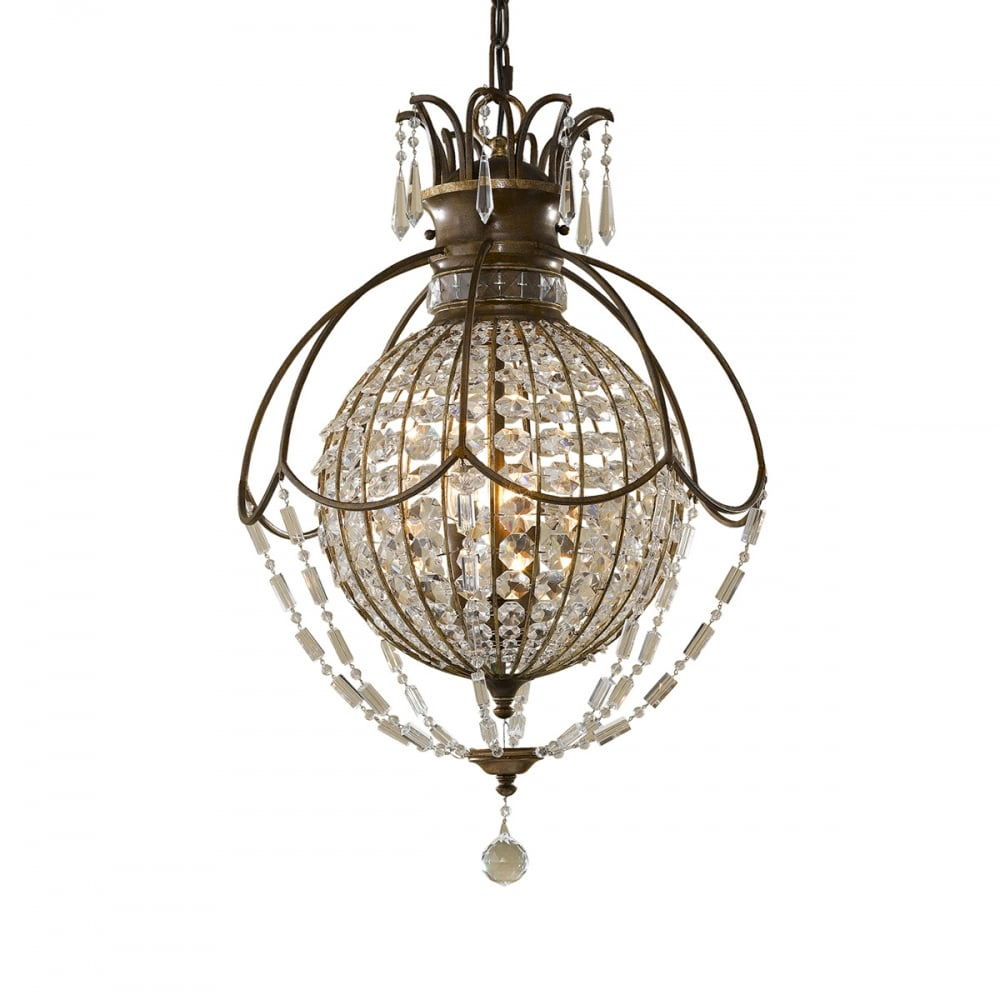 BELLINI mini chandelier style bronze and crystal pendant light