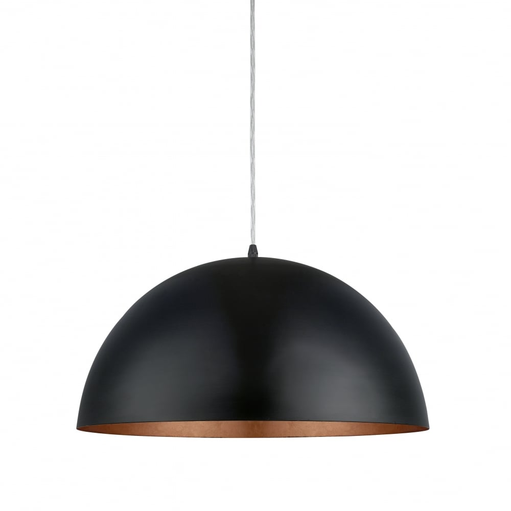 eglo gaetano matte black and copper dome hanging lamp 530mm ideas4lighting sku94938i4l. Black Bedroom Furniture Sets. Home Design Ideas