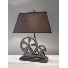 Industrial Revolution Themed Pearl Table Lamp with Black Tapered Shade