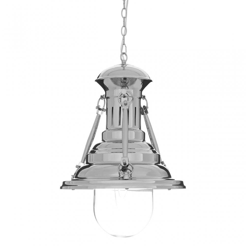Premier Lighting Lexington Large Lighthouse Pendant Light Chrome Glass Iron Silver Shop By Type From Ideas4lighting Uk
