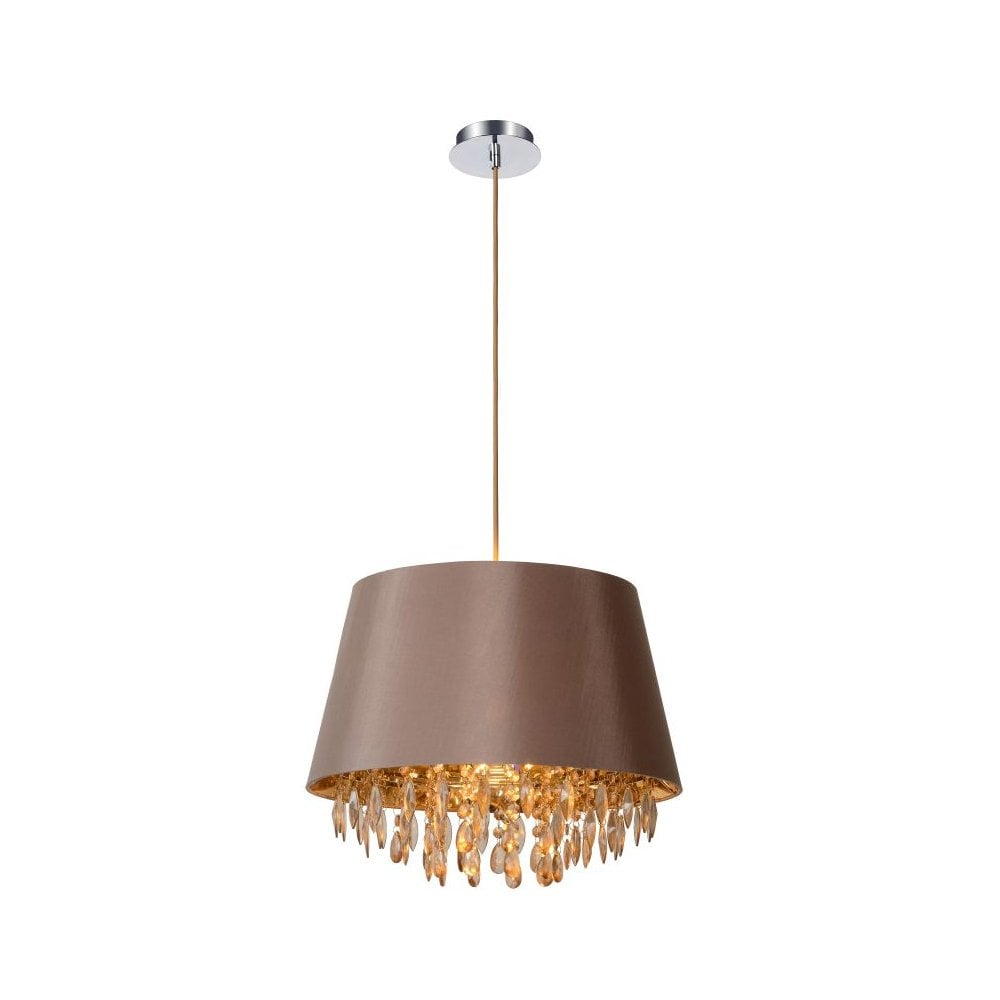 All Copper Crystal chandelier light with Fabric Cover of