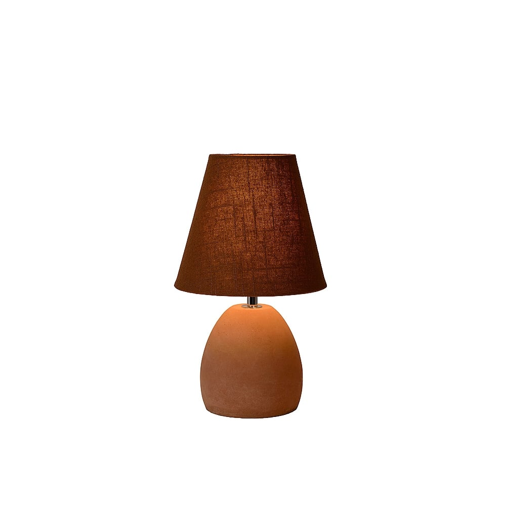 Lucide Solo Brown Ceramic Bedside Table Lamp with Switch