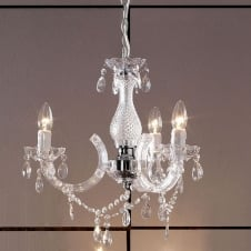 Marie Therese Acrylic Crystal 3 Light Chandelier