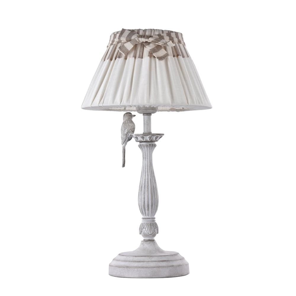 Maytoni Lighting Bird Antique White Table Lamp With French