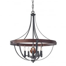 Medieval Large 5 Bulb Chandelier with Rustic Brick Hoop and Iron Metalwork
