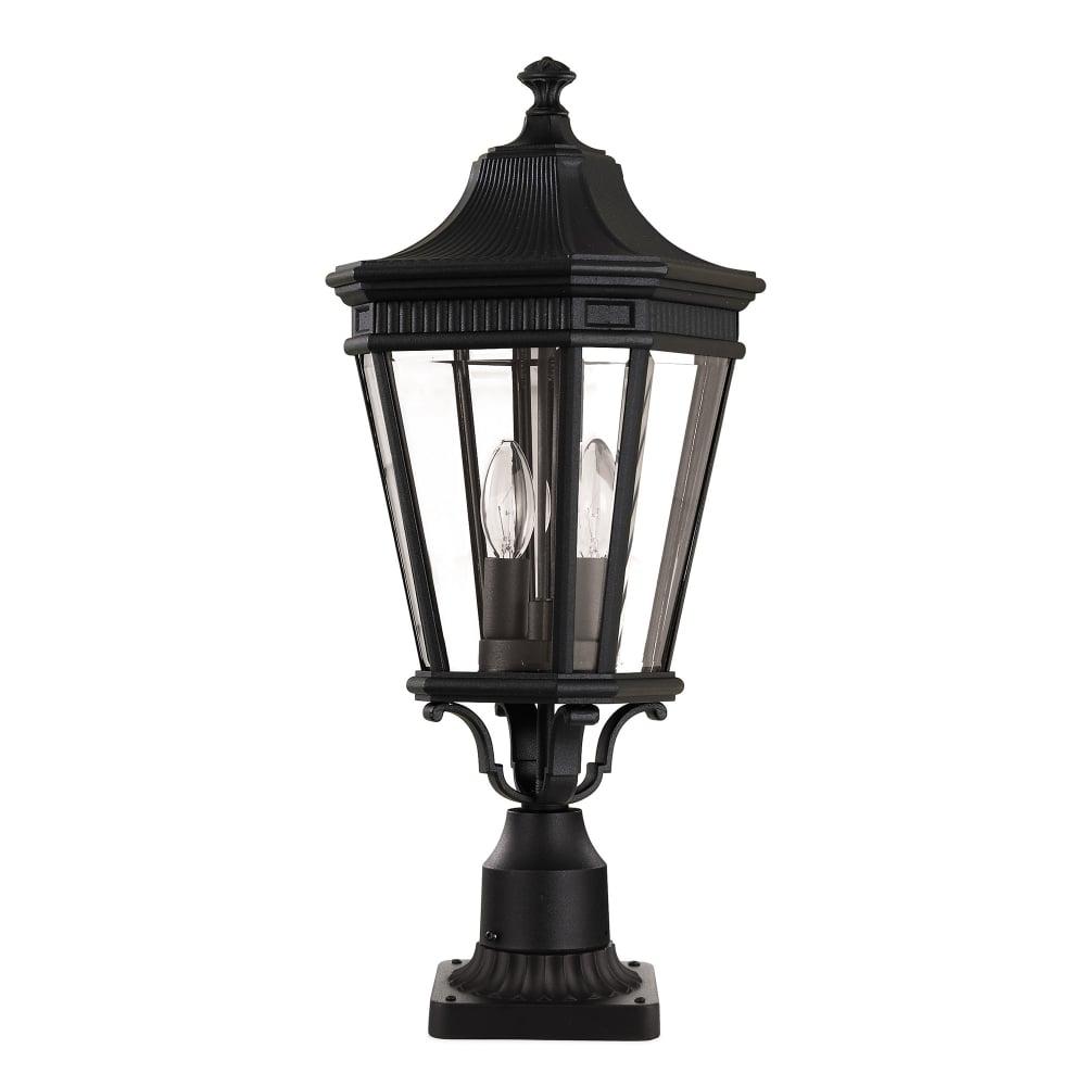 Bedfords Medium Pedestal Lantern In Black: Cotswold Lane Medium Pedestal