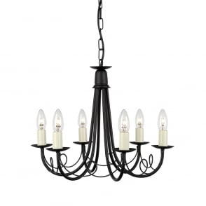Elstead Artisan 5 Light Black Chandelier | ART5 BLACK