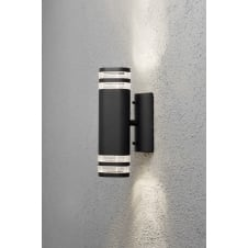 Modena Double Up Down Black Striped Wall Light