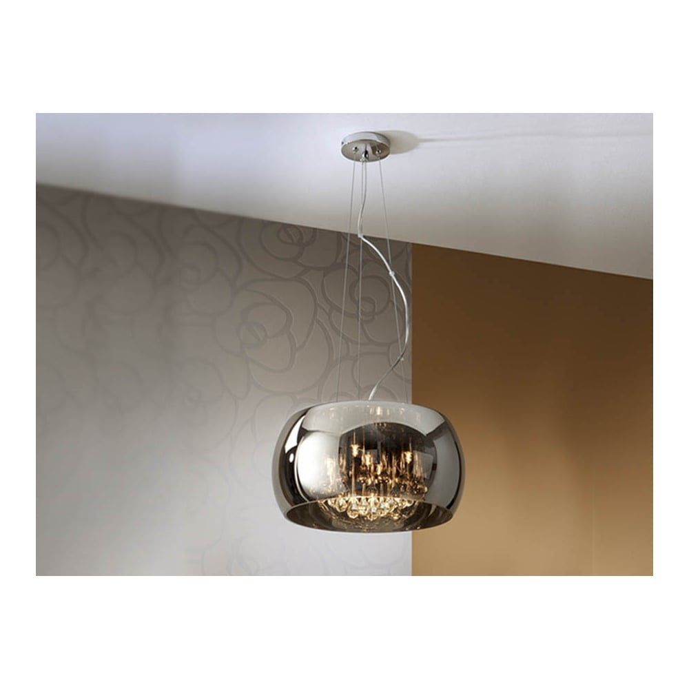Schuller 508718 Modern Smoked Glass Extra Long Light Fitting Oval Ceiling Pendant 5 Light