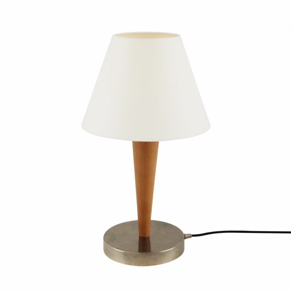 Wooden Table Lamp with White Cone Shade