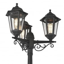Outdoor Black Driveway 3 Lantern Outdoor Pole Light