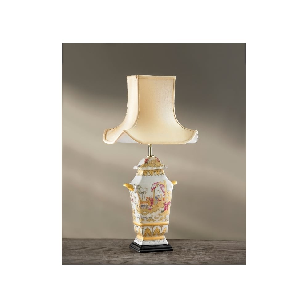 Painted Children Oriental Temple Shape Lamp With Wooden