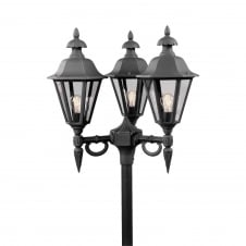 Pallas Black Driveway 3 Lantern Outdoor Pole Light