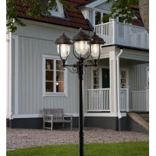 Parma Black Driveway 3 Lantern Outdoor Pole Light