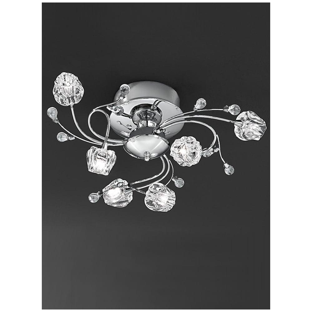 Hinkley Lighting Odette: Franklite FL2168/6 Podette Chrome 6 Light Flush Ceiling