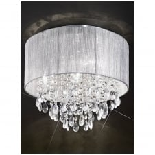 Royale Chrome 4 Light Flush Ceiling Fitting with Silver Shade