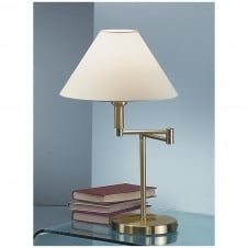 Satin Brass Swing Arm Table Lamp