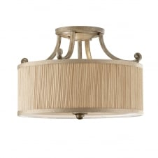 Semi-Flush Rubbed Ivory Chandelier with Musthroom Cylinder Shade