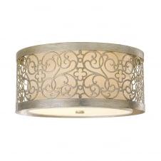 Shabby Chic Patterned Silver Leaf Flush Drum Light