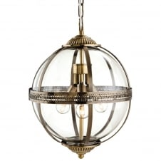 Traditional Bronze Clear Glass Globe Pendant Light