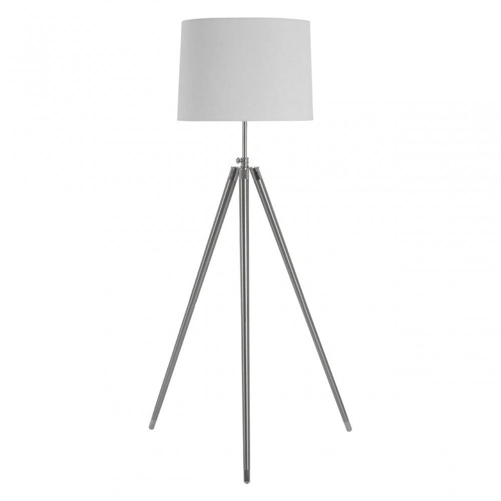 Premier Lighting Unique Tripod Floor Lamp, Iron, Linen, Cream