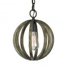 Vintage Style Minature Pendant Lamp of Antique Oak Wood and Forged Iron