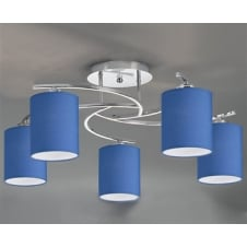 Vivace Chrome 5 Light Ceiling Fitting with Shades